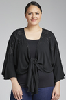 Plus Size - Sara Tie Embroidered Shrug