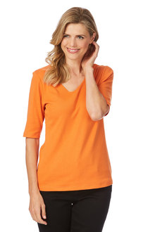 Rockmans Elbow Sleeve V Neck Double Front Tee
