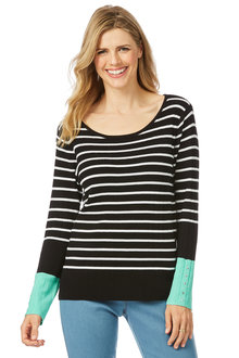Rockmans Long Sleeve Stripe Colour Pop Knit