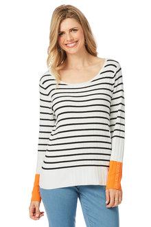 Rockmans Long Sleeve Stripe Colour Pop Knit