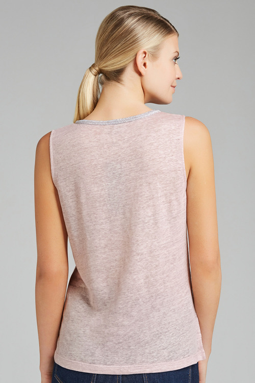 Grace Hill V Neck Foil Linen Tank