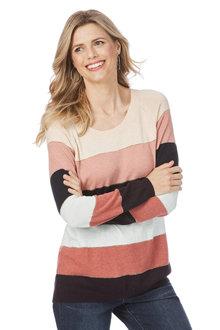 Rockmans Long Sleeve Metallic Stripe Knit