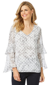 Table Eight Elkie Long Sleeve Print Blouse