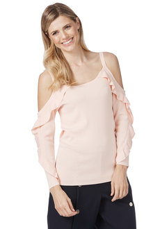 Table Eight Lara Long Sleeve Cold Shoulder Knit