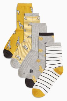 Next Animal Stripe Pattern Ankle Socks Five Pack