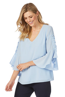 Table Eight London Lattice 3/4 Sleeve Blouse