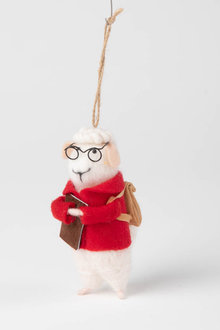 Felt Sheep with Glasses Ornament