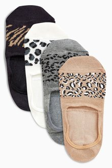 Next Animal Pattern Invisible Trainer Socks Four Pack