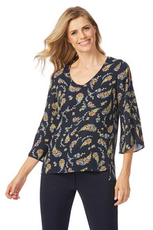 Table Eight Millie 3/4 Sleeve Print Blouse
