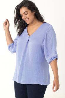 Plus Size - Beme 3/4 Sleeve Satin Shirt