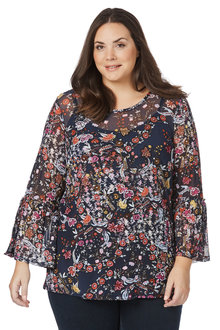 Plus Size - Beme Long Frill Sleeve Print Mesh Top - 206218