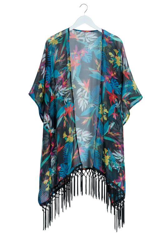 Plus Size - Sara Tassel Kimono Kaftan