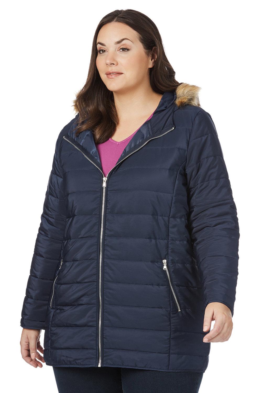 15cbad9d2c9 Plus Size - Beme Long Sleeve Puffa Coat