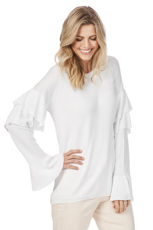 Rockmans Long Sleeve Ruffle Knit - 206247