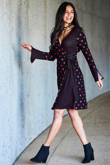 Urban Polka Wrap Front Dress - 206278