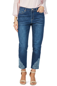 Rockmans 7/8 Embroidered Cut Out Straight Leg Jean