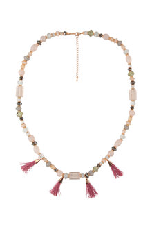 Amber Rose Beaded Rope Tassel Necklace