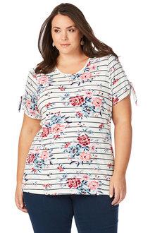 Plus Size - Beme Short Sleeve Floral Stripe Tee