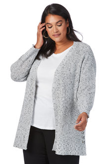 Plus Size - Beme Long Sleeve Lace Seam Cardi