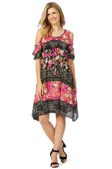 Rockmans 3/4 Sleeve Mixed Print Ruffle Dress