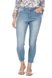 Rockmans 7/8 Star Embroidered Skinny Leg Jean