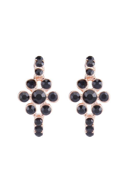 Amber Rose Stone Set Half Hool Earring