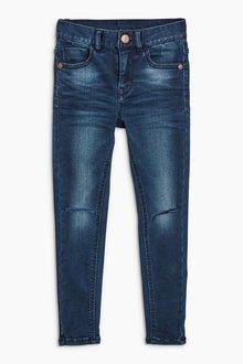Next Dark Blue Rip Knee Spray On Jeans (3-16yrs)