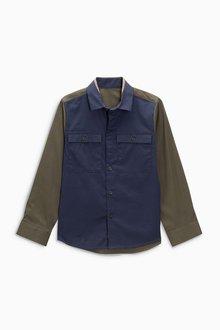 Next Long Sleeve Stretch Colourblock Shirt (3-16yrs)