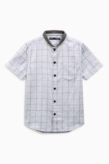 Next Short Sleeve Check Baseball Neck Shirt (3-16yrs)