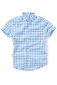 Next Light Blue Short Sleeve Gingham Shirt (3-16yrs)