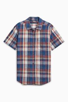 Next Short Sleeve Washed Check Shirt (3-16yrs)