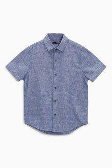 Next Linen Mix Short Sleeve Shirt (3-16yrs)