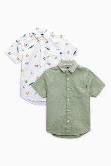 Next Fun Print And Khaki Plain Short Sleeve Shirts Two Pack (3-16yrs)