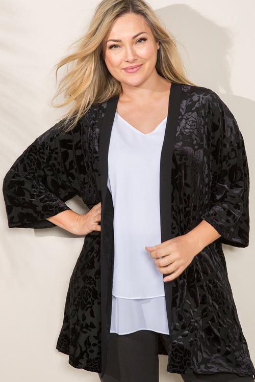Plus Size - Sara Burnout Kimono