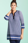Plus Size - Sara V Neck Print Tunic
