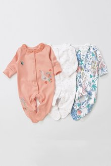 Next Pink/White Floral Sleepsuits Three Pack (0mths-2yrs)