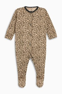 Next Slogan Leopard Print Sleepsuits Three Pack (0mths-2yrs)