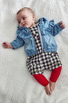 Next Gingham Dungarees, Bodysuit And Tights Set (0mths-2yrs)