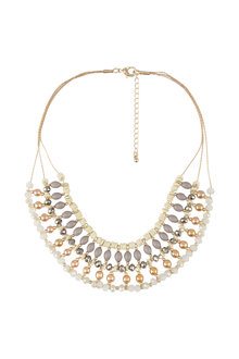 Amber Rose Beaded Bib Necklace
