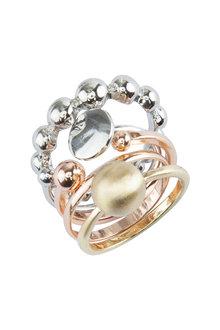 Amber Rose Sticks And Stones Finger Ring Set