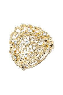 Amber Rose Filigree Finger Ring