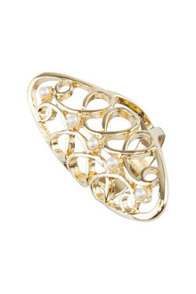 Amber Rose Filigree Pearl Finger Ring