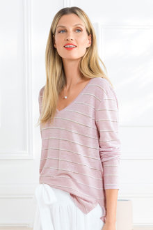 Grace Hill L/S V Neck Linen Tee