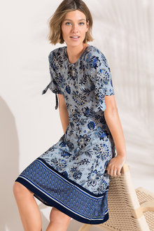 Emerge Tie Sleeve Fit & Flare Dress
