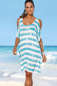 Urban Stripe Cold Shoulder Beach Cover Up