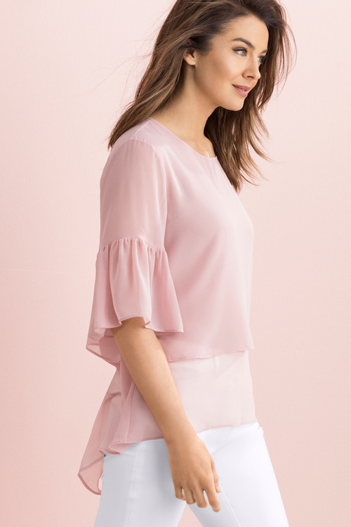 Capture Layered Tunic with Frill Sleeve Detail