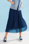 Capture Pleated Skirt With Self Fabric Waistband
