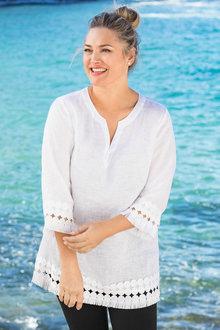 Plus Size - Sara Linen Lace Trim Tunic