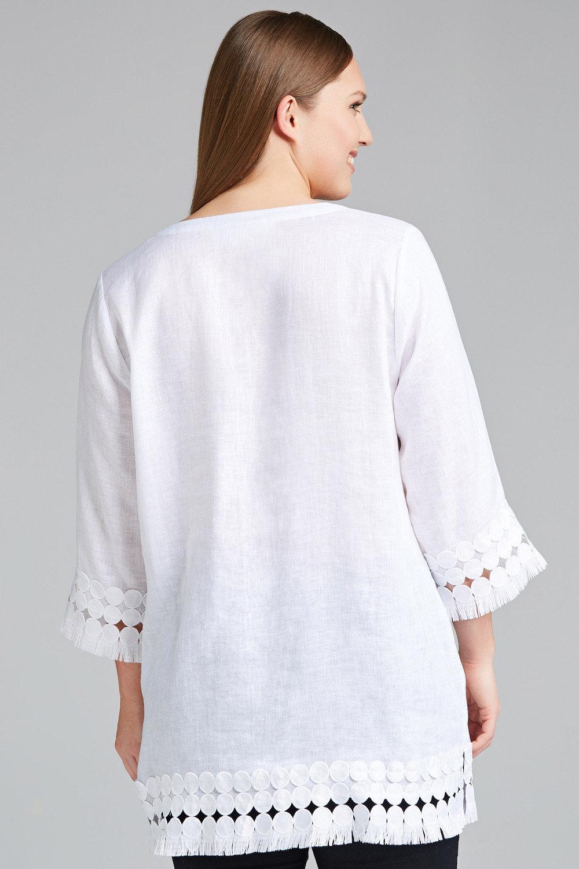 2fc278d938f Plus Size - Sara Linen Lace Trim Tunic