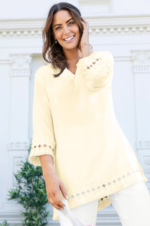 Plus Size - Sara Linen Lace Trim Tunic